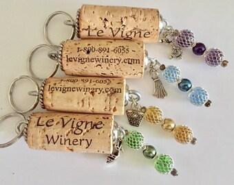 BFF Girls Trip Wine Weekend Gifts, Cork Keychain w/Girlfriend Charms, Bunco Prizes, Wine Party Favors, Levigne Winery, Set of 4 Keychains