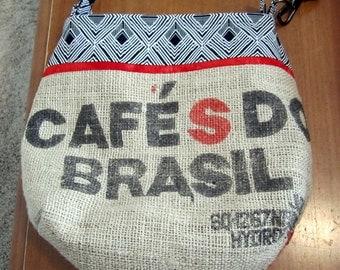 Burlap CROSSBODY BAG - recycled coffee bag - Brazil - zipper closure44.00