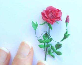 Alice in wonderland flowers *disney *red rose *polymer *miniatures