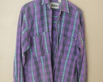 vintage oversized purple buffalo check and turquoise heart chambray button up shirt