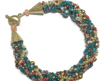 Kumihimo Bead Soup Bracelet in Teal