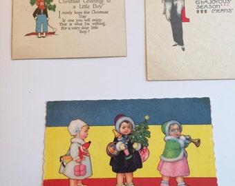 Antique Postcards Italia   Rustcraft USA Tree Christmas  Art Deco Card Free Ship Canada USA