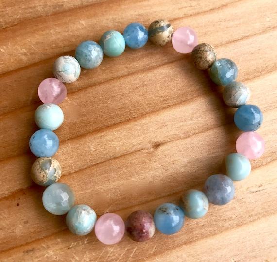 Pastel Chakra Mala African Opal Aquamarine Rose Quartz Moonstone Stretch Bracelet Stackable Bracelet Heart Chakra Throat Chakra