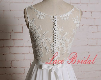 Lace Wedding Dress with Chiffon Skirt Sheer Lace Back Bridal Gown with Buttons up