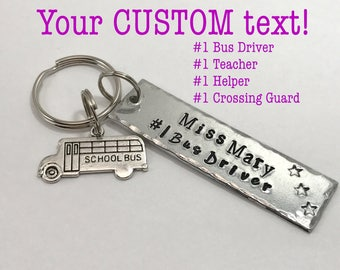 Bus Driver Gift Personalized name gift Teacher Keychain, bus driver End of Year Gift for school helper, School Crossing Guard thank you gift