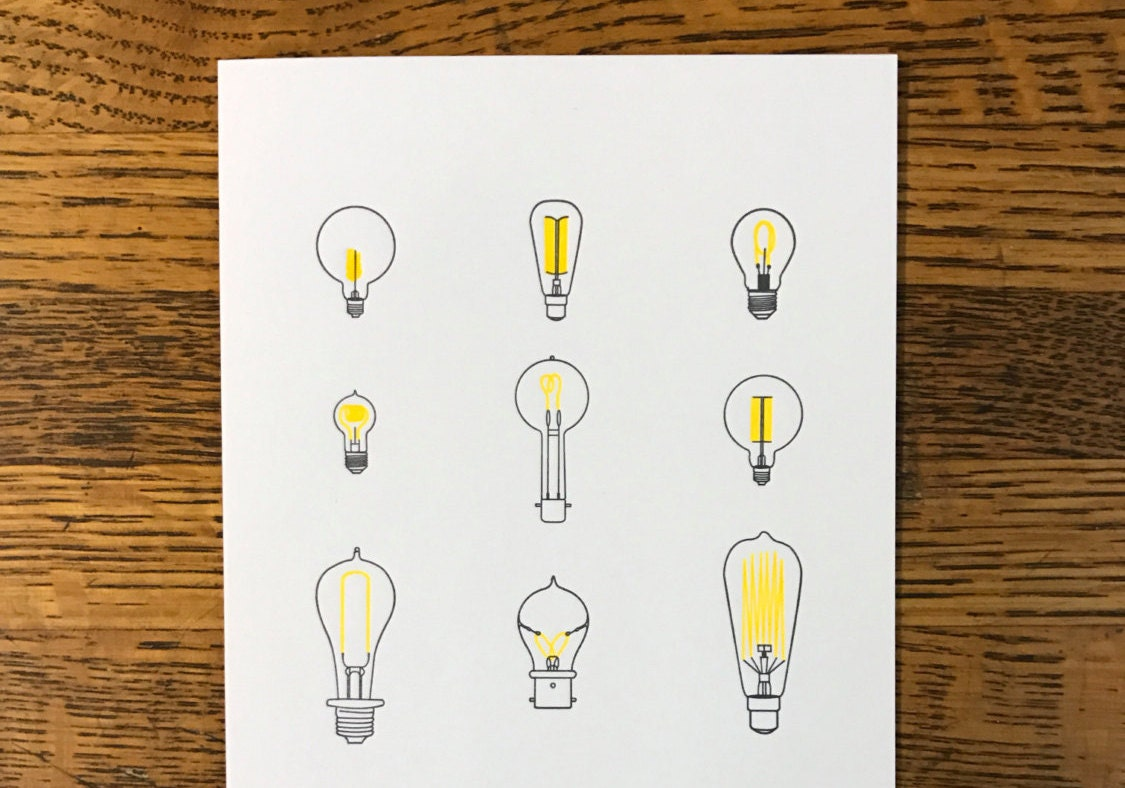 Letterpress print of lightbulbs