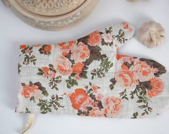 Orange roses linen Oven Mitt Pot Holder Oven Gloves Floral Potholder Cooking gloves Kitchen Gloves Orange roses linen potholder