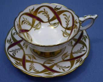Royal Stafford Tea Cup & Saucer Set Stunning Gold Features Made in England c. 1950