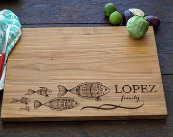 Personalized cutting board - engraved cutting board, Custom cutting board, Bridal shower wedding gift, Wood anniversary present, Fish family