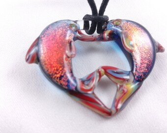 Kissing Dolphin - Glass Pendant Necklace