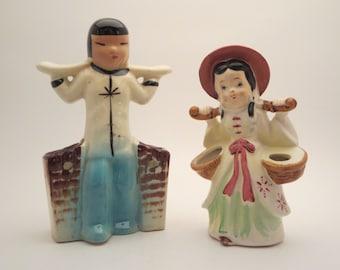 MINIATURE FIGURINES, Vintage decor, Planters, Asian figurines, Asian decor, Collectible, 1950s, Vases, Vintage gift