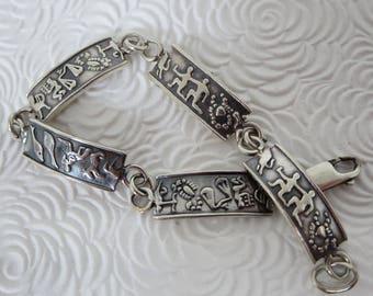 STERLING SILVER BRACELET, Panels bracelet, Astrological signs, Horoscope, Tribal jewelry, Vintage, Link bracelet, Symbols, Gift ideas
