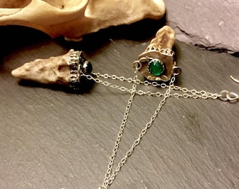 Fairytale Antler Earrings with Green Onyx Tooth and Claw Collection