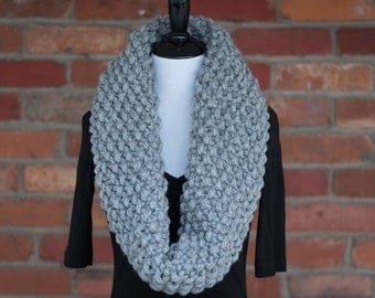 Knit Infinity Scarf, Winter Scarf, Scarves for Women, Chunky Knit Scarf, Warm Scarf, Chunky Handmade Scarf, Gifts for Her, Grey Heather