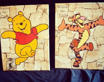 Winnie the Pooh and Tigger Book Pages Canvas Set 9x12