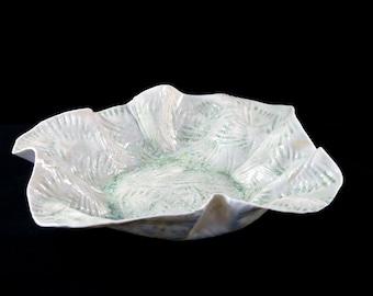 Porcelain platter with shell-pattern, handmade