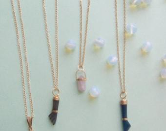 Quartz and agate charm necklaces