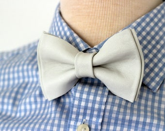 Leather bowties for men,white leather mens bow tie,white genuine leather wedding bow tie,white leahther bow tie, bowtie,wedding boutonniere