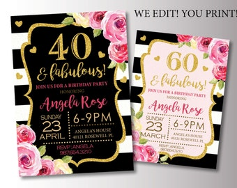 40th Birthday Party invitation. Pink and Gold Birthday Invitation. Glitter Birthday Invite. Printable Digital DIY Card