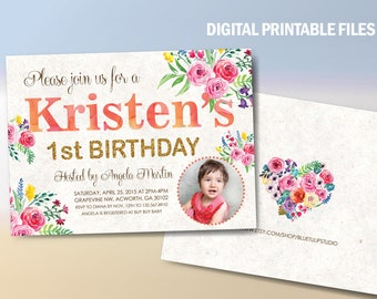 Spring 1st Birthday Party Invitation, Baby Girl Birthday Party, Double sided Announcement, Hand painted flowers, DIY