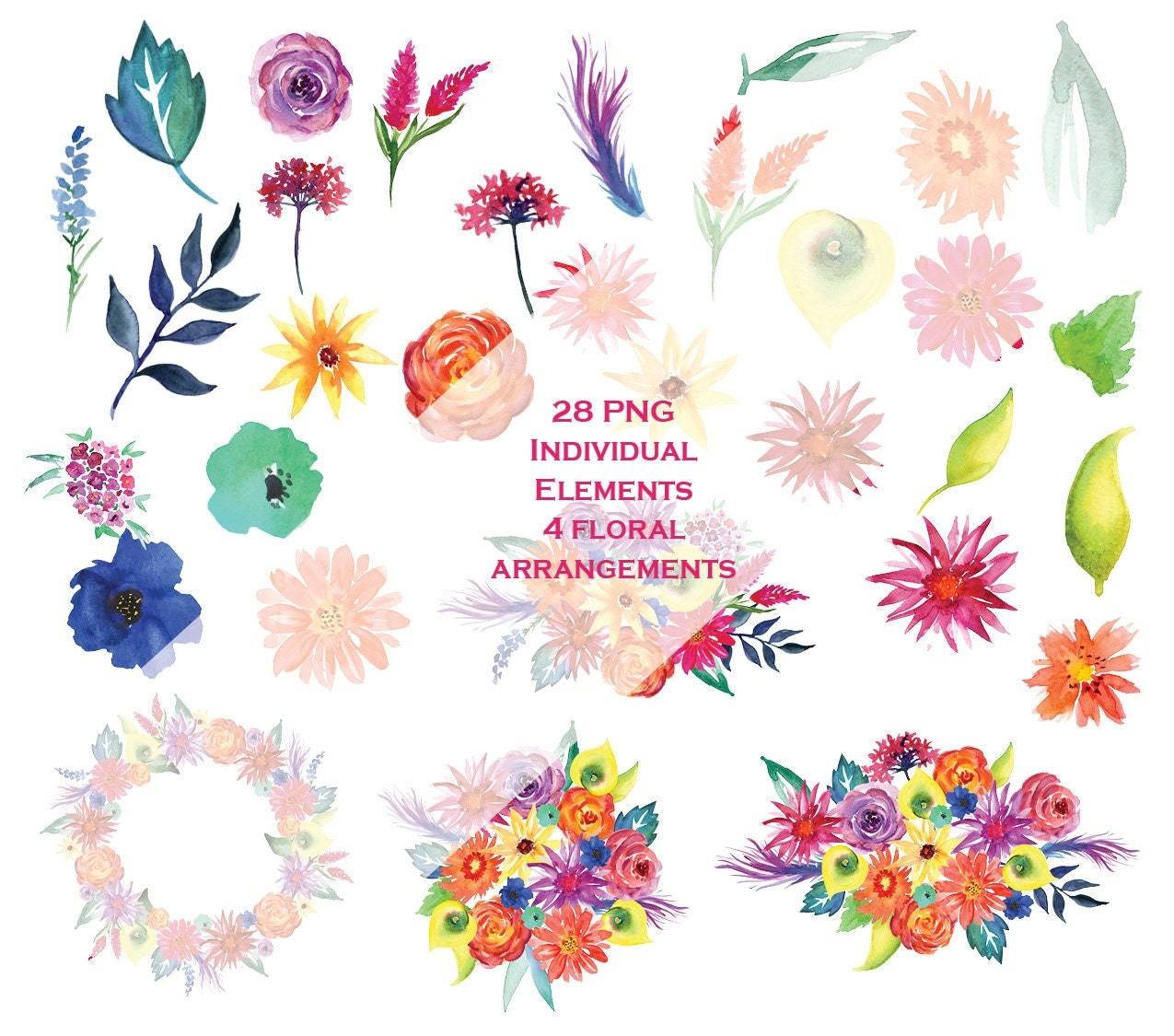 32 fiesta watercolor flowers clipart  mexican flowers