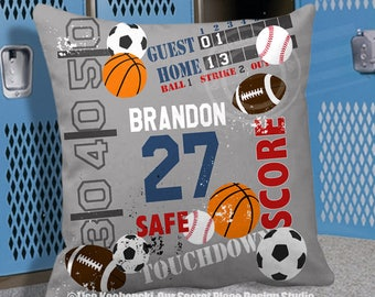 Custom Sports Pillow Cover Sports Bedding Sports Bedroom Decor Sports Decor for Boys Football Decor for boys Football room decor