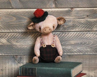 Teddy Piglet-Artist Teddy Pig- Toy Pig-Traditional Teddy Bear-Handmade Teddy Bear-Old Style Teddy Bear