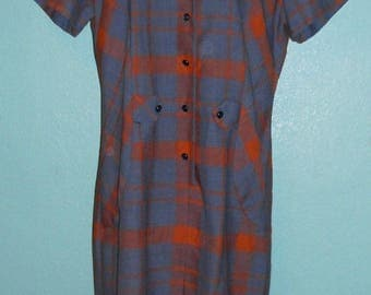 """60s70s Plaid Cotton Blend """"Sears"""" Rockabilly Hipster Day Dress — Size XL, 16-18"""