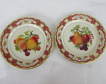 "Vintage 8"" DAHER DECORATED WARE Fruit Designs Tin Plates Made in Holland"