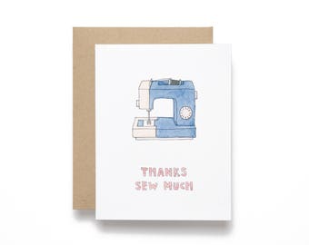 Thanks Sew Much - Sewing Machine Thank You Card