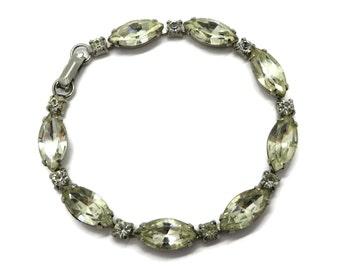 Vintage Weiss Rhinestone Bracelet | Silver Tone Marquise Rhinestone Bracelet | Bridal Jewelry