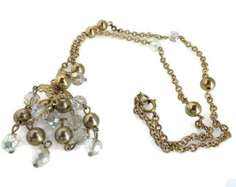 Crystal Chandelier Necklace Vintage Gold Tone Retro Costume Jewelry Necklace