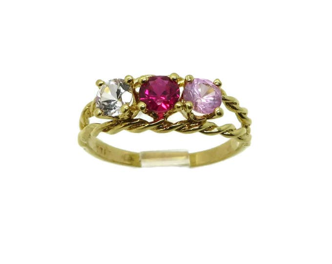 Colorful Multistone Ring, Vintage Gold Plated Ring, Faux Gemstone Sterling Silver Ring, Size 7