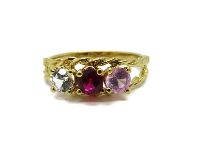 Vintage Sterling Silver Multi Stone Ring, Gold Plated Faux Gemstone Sample Ring, Size 7