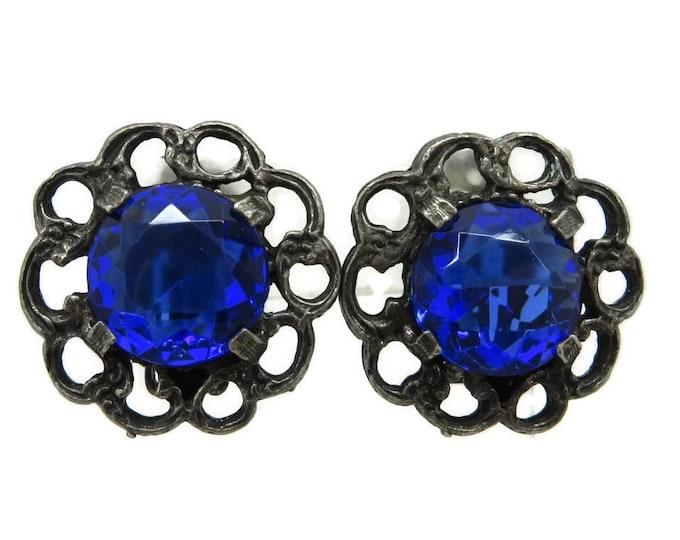 STAR Signed Blue Rhinestone Earrings, Designer Signed Gray Flower Clip ons Vintage Estate Costume Jewelry