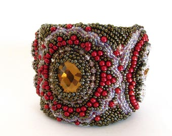 FREE SHIPPING! Bead embroidery bracelet, beaded cuff, bronze bracelet