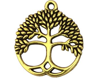 5 Gold Tree Charm Pendant in a Disk 26x23mm by TIJC SP1593