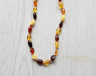 Baby Teething necklace. Amber teething necklace. Teething for babies. Natural Polished amber beads. Mix color. 33 cm or 12,9 inch. 5520