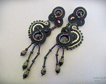 Black Gold Iridescent Earring, Black Long Stud Soutache Earrings, Victorian Gothic Lolita Earring, Evening Cocktail Earring, Black Crystal