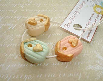 Spring Collection - Cream Mint & Peach Polymer Clay Bird House Set