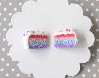 Pastel Cake Earrings, Polymer Clay Cake, Food Earrings, Nickel Free Posts, Miniature Food Jewelry, Miniature Cake, Rainbow Cake Earrings
