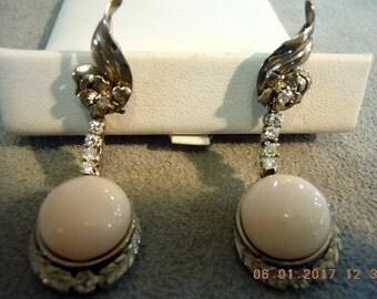 Angel Skin Coral 18K White Gold & Diamond Pierced Earrings Rare Antique Beauties