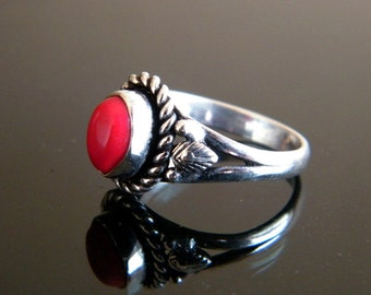 Red Coral Ring, Brass Ring, Silver Plated Ring, Silver Brass Ring, Gift For Her, Women Jewelry, Statement Ring, Ring size-7 SH-1952