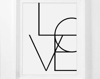 Word Art, Typography Wall Art, Love Art Poster, Word Artwork, Love Sign, Typography Poster, Typography, Modern Wall Art, Black and White