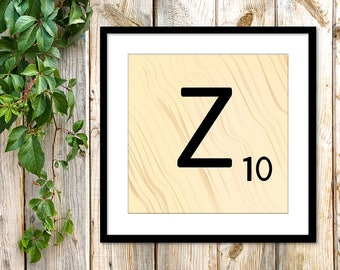 Printable Scrabble Letter Z, Scrabble Wall Art, Instant Download, Printable Art, Printable Print, Alphabet Wall Words, Personalize Word Art