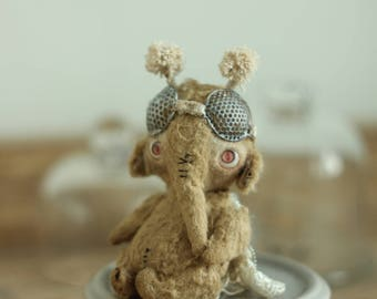 teddy bug teddy elephant artist toy miniature toy teddy bear elephant one of a kind toy atist teddy bear moth toy gift for her collectible