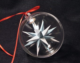 Three inch handmade paper Moravian Star (Blue and White) used as decoration, ornaments or art.