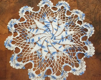 "11"" Varigated Blue Hand Crocheted Doily"