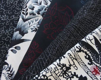 Black/ Mix pack of Kimono silk panel / Vintage Kimono fabric/1-A