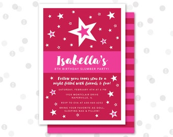 CUSTOM - 5x7 Invitation - American Doll Birthday Party Collection by InkoHaus - Free Backer Design - PRINTABLE
